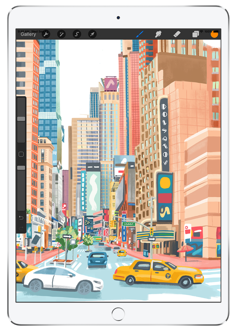 The drawing app Procreate with an artist drawing of an urban cityscape. Along the top is the available tools.