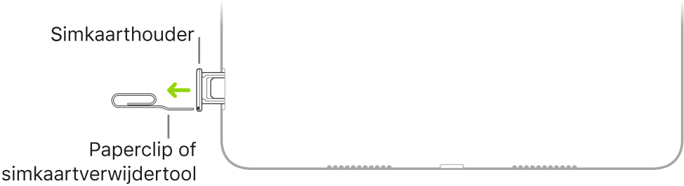 Een paperclip of de simkaartverwijdertool is in de opening van de simkaarthouder aan de rechterkant van de iPad geplaatst.