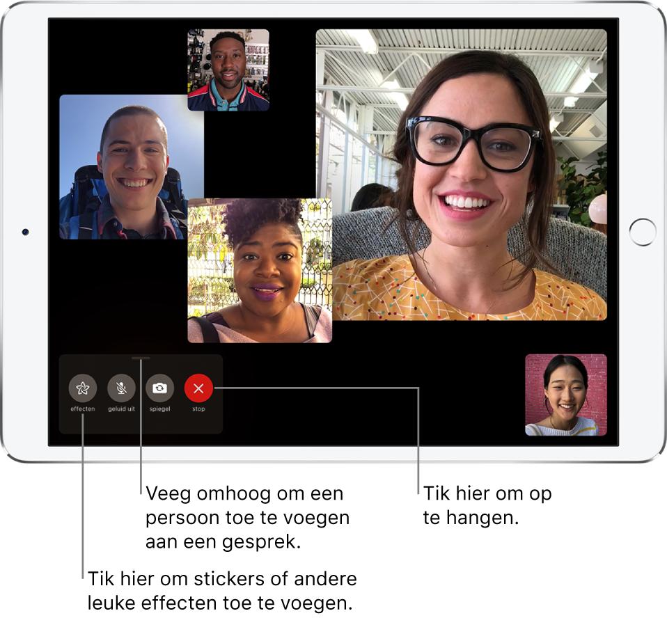 Een groepsgesprek in FaceTime met vijf deelnemers, waaronder de persoon die het gesprek heeft gestart. Elke deelnemer verschijnt in een aparte tegel, waarbij de grootte van de tegel aangeeft hoe actief de deelnemer is.