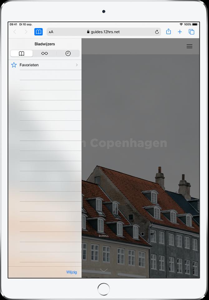 De navigatiekolom 'Bladwijzers' met behalve de bladwijzers ook opties voor het weergeven van favorieten en het bekijken van de browsergeschiedenis.