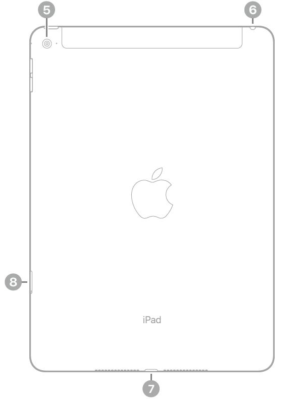 Achterkant van de iPadAir2 met bijschriften, van linksboven met de klok mee: camera aan de achterkant, koptelefoonaansluiting, Lightning-connector en simkaarthouder (Wi-Fi+Cellular).