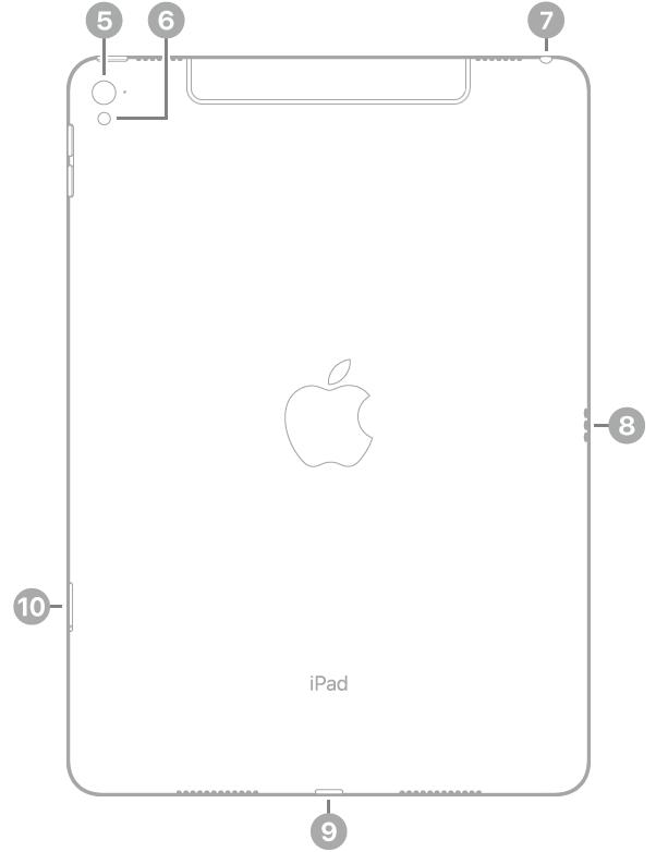 Achterkant van de iPadPro met bijschriften, van linksboven met de klok mee: camera aan de achterkant, flitser, koptelefoonaansluiting, Smart Connector, Lightning-connector en simkaarthouder (Wi-Fi+Cellular).