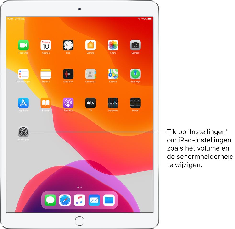 Het iPad-beginscherm met diverse symbolen, zoals het Instellingen-symbool, waarop je kunt tikken om het volume, de schermhelderheid en andere iPad-instellingen te wijzigen.