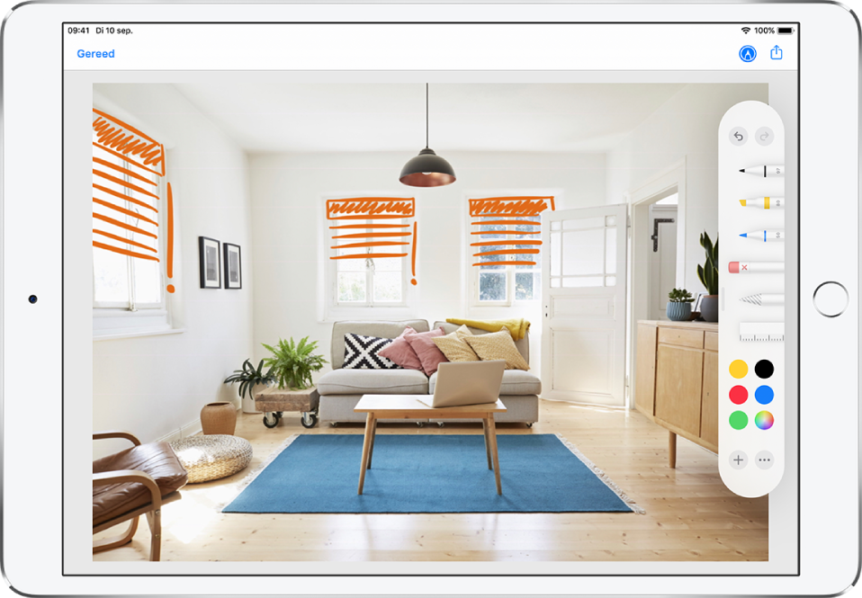 Een foto wordt met oranje lijnen gemarkeerd om jaloezieën op ramen aan te geven. Het tekengereedschap en de kleurenkiezer verschijnen langs de rechterrand van het scherm.