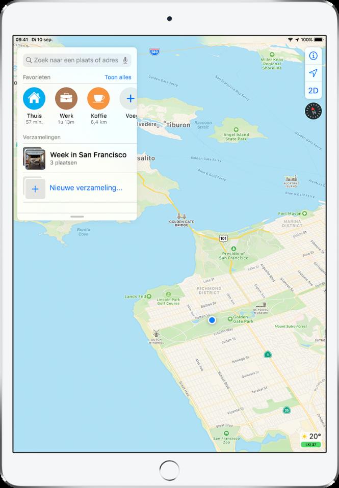 """Een uitgevouwen zoekkaart wordt aan de linkerkant van het scherm weergegeven. In het gedeelte 'Verzamelingen' zie je een verzameling met de titel """"Week in San Francisco"""" en een optie voor het maken van een nieuwe verzameling."""