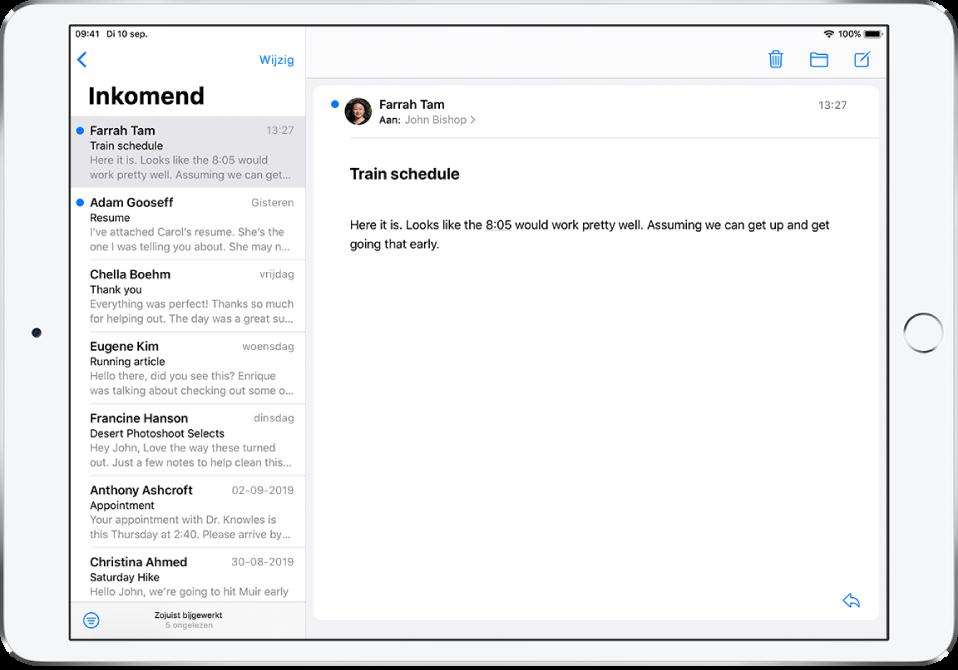 Een voorvertoning van een e‑mail in 'Inkomend' met de naam van de afzender, de tijd waarop de e‑mail is verstuurd, de onderwerpregel en de eerste twee regels van het bericht.