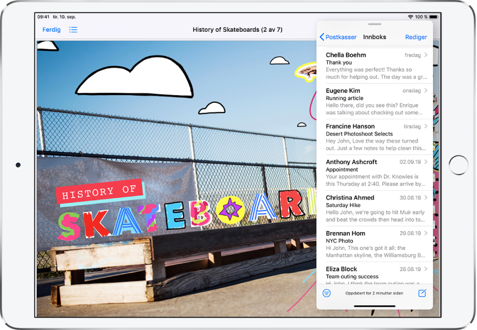 En grafikk-app fyller skjermen. Mail-appen er åpnet i et SlideOver-vindu til høyre på skjermen.