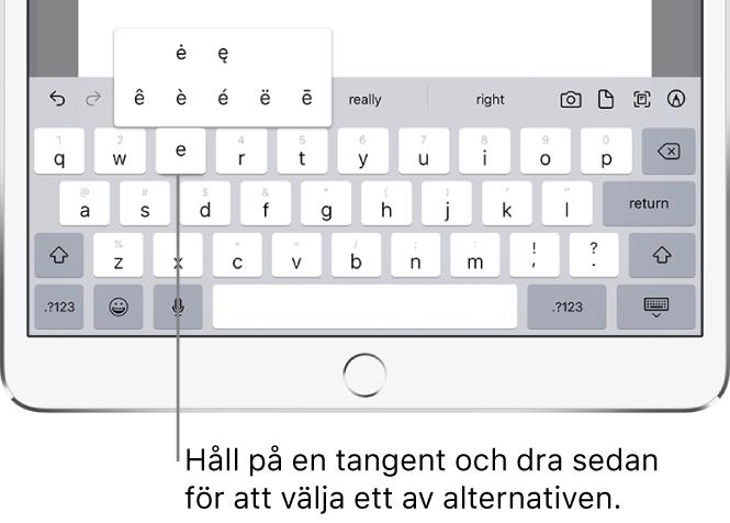 """En skärm som visar alternativa tecken för tangenten """"e""""."""