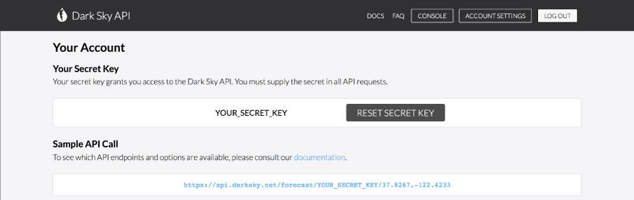المفتاح السري لـDarkSky.
