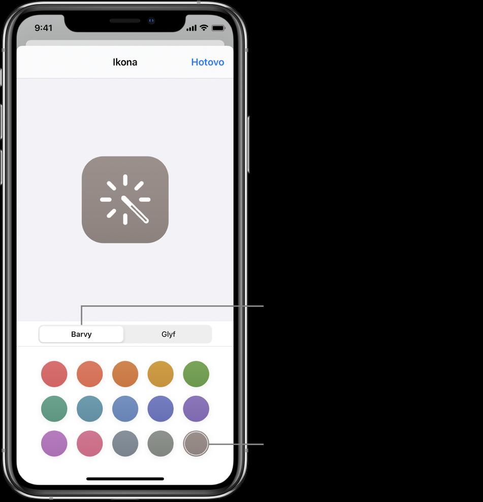 Obrazovka Ikona svolbami barev pro zkratky