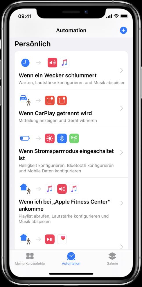 """Liste persönlicher Automationen in der App """"Kurzbefehle""""."""