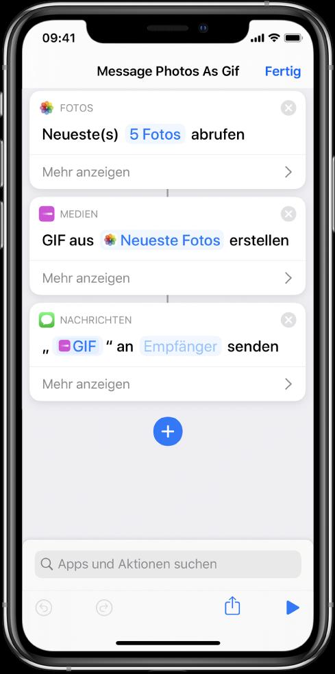 Der Kurzbefehleditor mit Aktionen zum Senden einer Nachricht mit Fotos als animiertes GIF-Bild