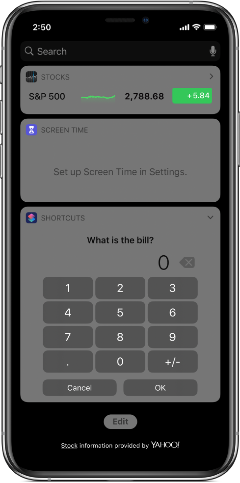 Number pad in the Shortcuts widget in Today View.