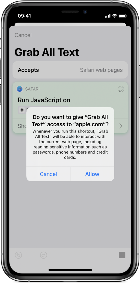 The shortcut editor showing a prompt to allow the shortcut to run on a specific domain.