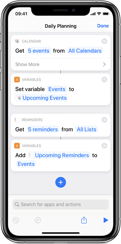 Shortcuts showing variables.