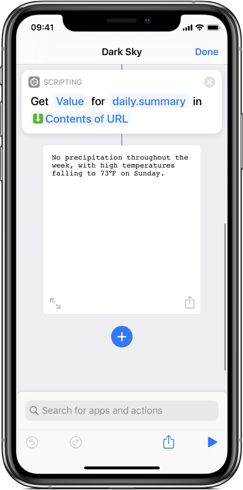 Get Dictionary Value action in the shortcut editor with the key set to summary.