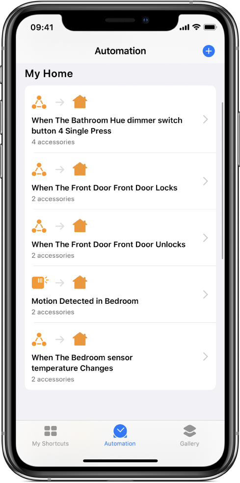 Home automation in the Shortcuts app.