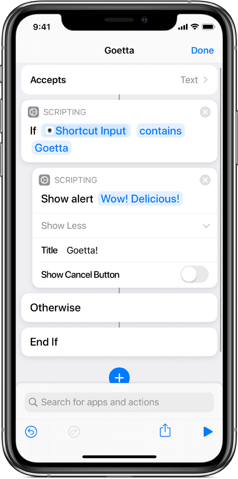 """Example shortcut with """"If"""" actions."""