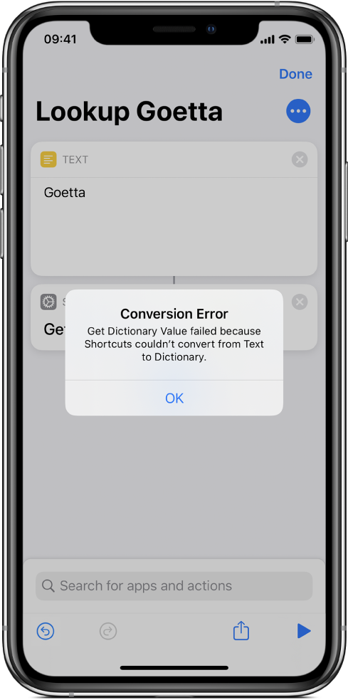 Error alert in shortcut editor.