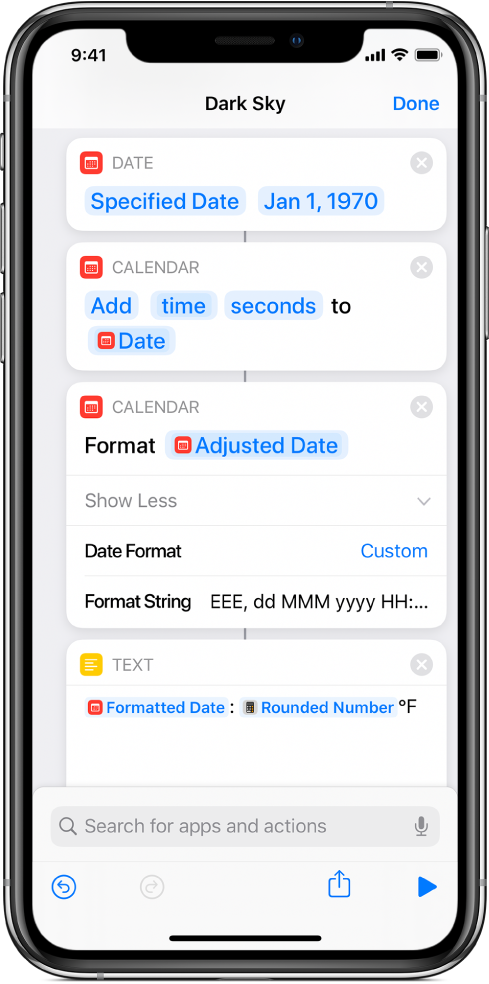 Format Date action with a custom Format String, in the shortcut editor.