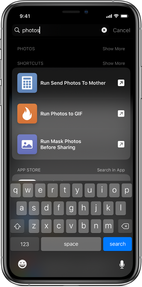 "Search for the shortcut keyword ""photos,"" and the results of the search: ""Run Send Photos To Mother,"" ""Run Photos to GIF,"" and ""Run Mask Photos Before Sharing"" shortcuts."