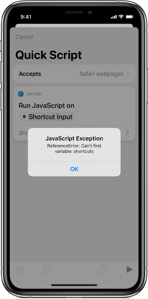 The shortcut editor showing a JavaScript Exception error message.