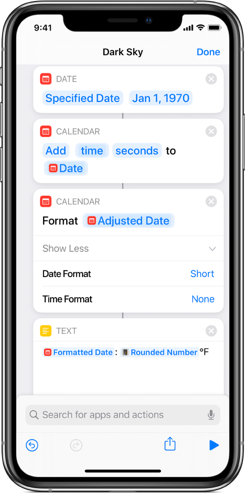 Shortcut with actions to translate UNIX time to a more human-friendly date format.