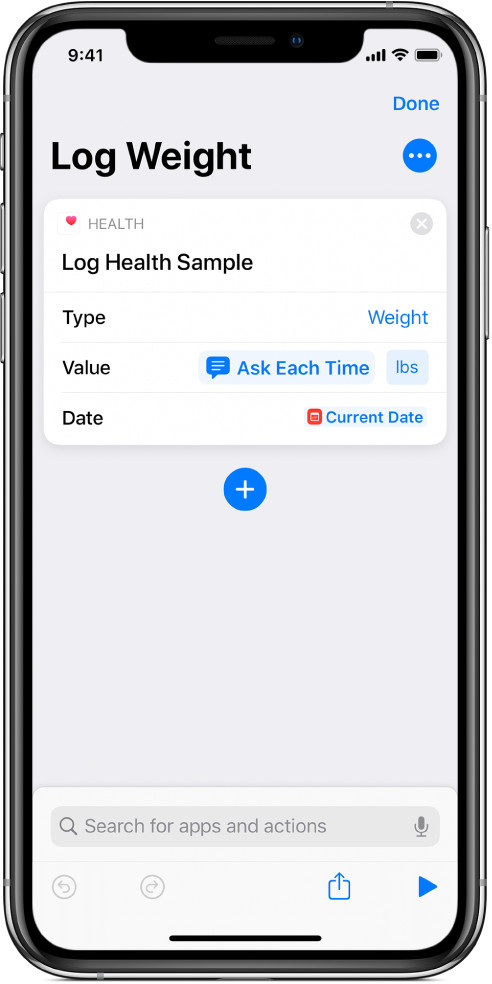 Ask Each Time variable token in the Date field of the Log Health Sample action.