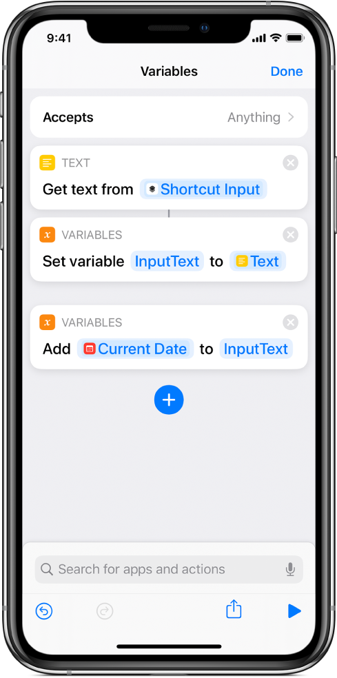 Set Variable and Add to Variable actions in shortcut editor.