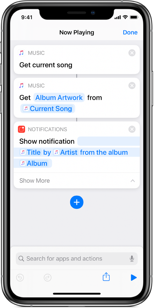 Show Notification action in the shortcut editor and Music Now Playing alert called by the Show Notification action.