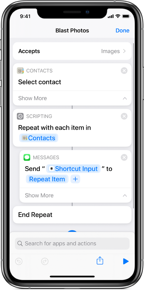 "Example shortcut showing ""Repeat"" actions."