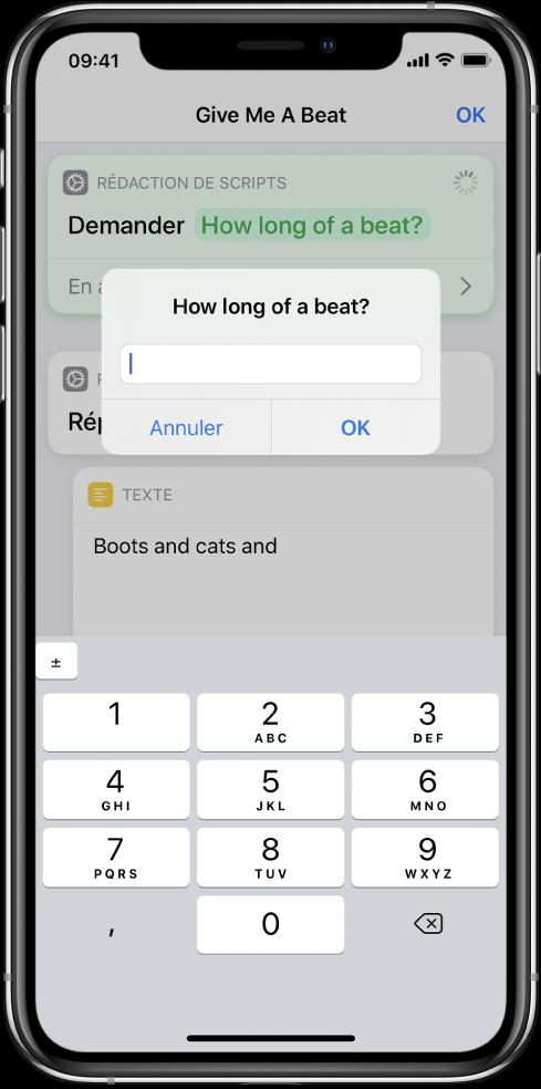 Zone de dialogue demandant à l'utilisateur de saisir des chiffres et ouvrant un pavé numérique au lieu d'un clavier textuel.