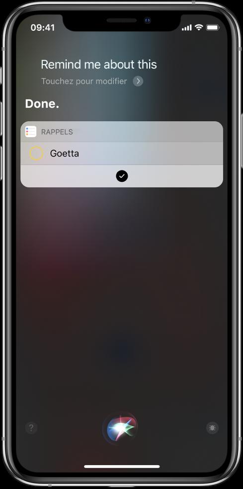 Écran Siri présentant l'ajout d'un raccourci à vos rappels.