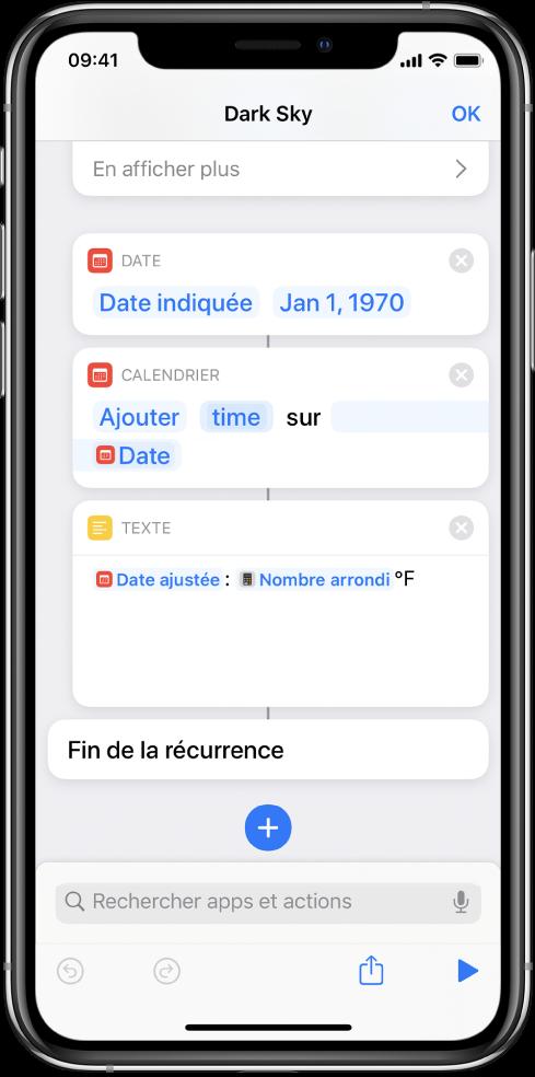 Action date, action Ajuster la date et action Texte dans l'éditeur de raccourci, avec variables appliquées.