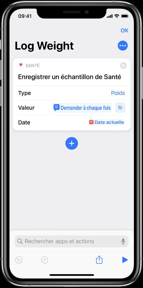 Jeton de la variable «Demander à chaque fois» dans le champ Date de l'action Enregistrer un échantillon de Santé.