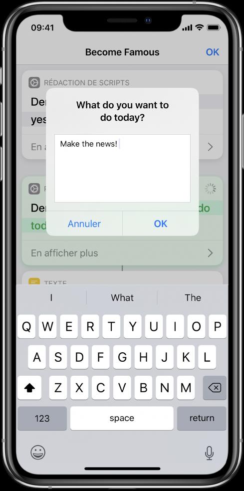 Zone de dialogue demandant une entrée à l'utilisateur avant que le raccourci ne se poursuive.