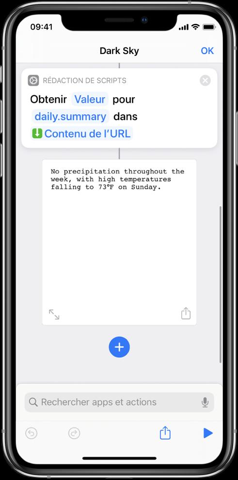 Action Obtenir la valeur du dictionnaire dans l'éditeur de raccourci avec la clé définie sur «summary».