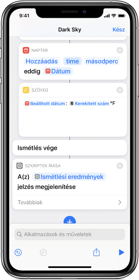 Show Alert action with a Repeat Results variable in the body of the alert's message.