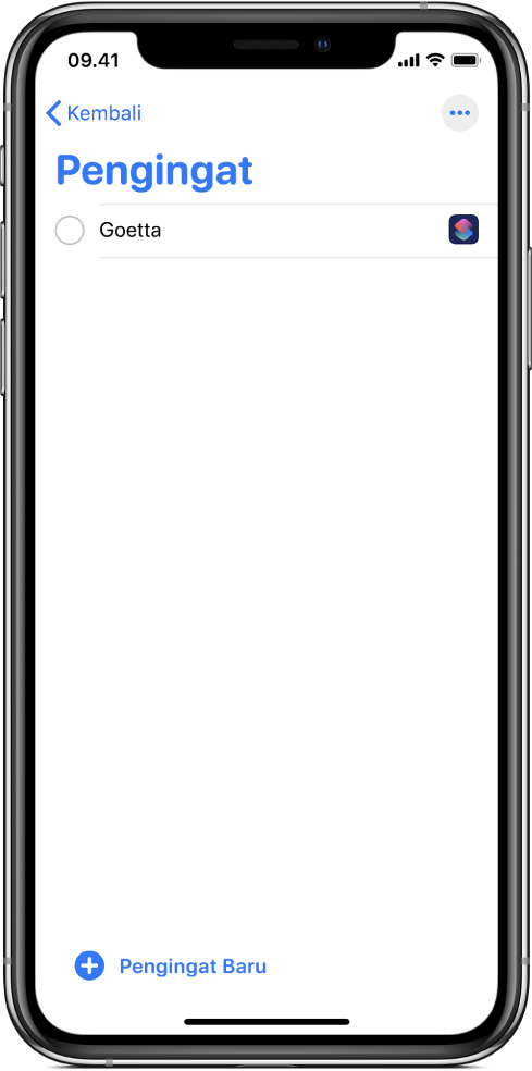 App Pengingat menampilkan pengingat pintasan baru.