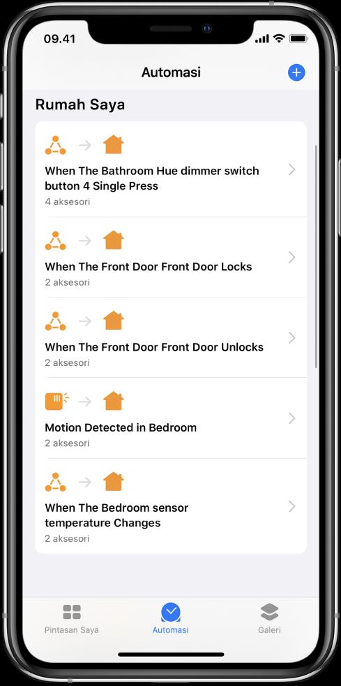 Automasi rumah di app Pintasan.