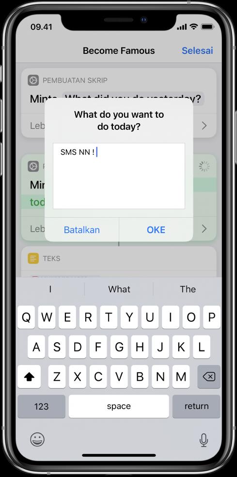 Dialog yang meminta input kepada pengguna sebelum pintasan dilanjutkan.