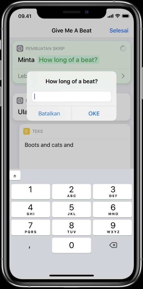 Dialog yang meminta input numerik kepada pengguna membuka keypad numerik sebagai ganti papan ketik teks.