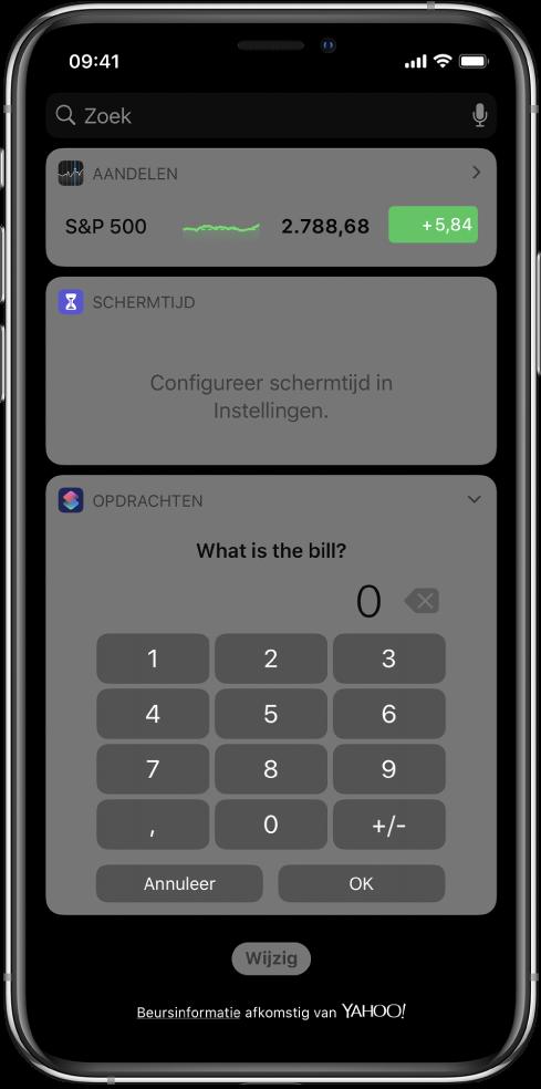 Numeriek toetsenblok in de Opdrachten-widget in de Vandaag-weergave.