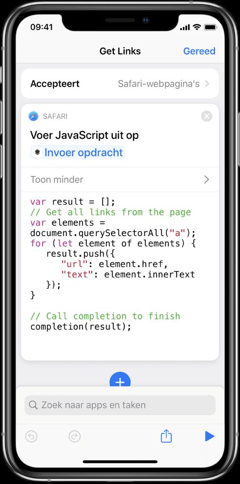 De taak 'Voer JavaScript uit op webpagina' in de opdrachteneditor.