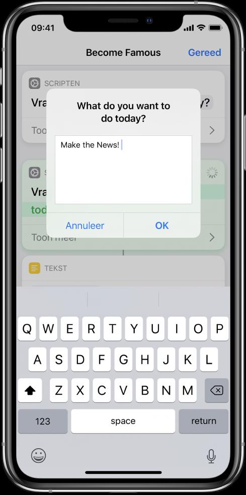 Dialoogvenster waarin de gebruiker om invoer wordt gevraagd voordat de opdracht verder wordt uitgevoerd.