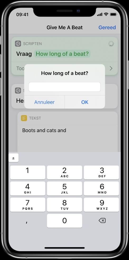 Dialoogvenster waarin de gebruiker wordt gevraagd om getallen in te voeren, waardoor er een numeriek toetsenblok wordt weergegeven in plaats van een gewoon toetsenbord.