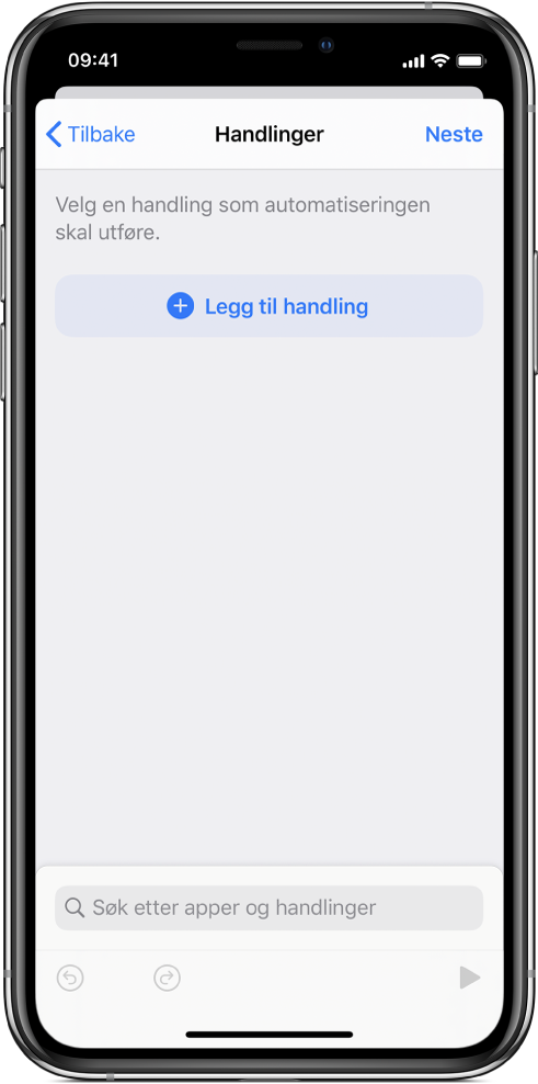 En tom automatisering i automatiseringsredigereren i Snarveier-appen.