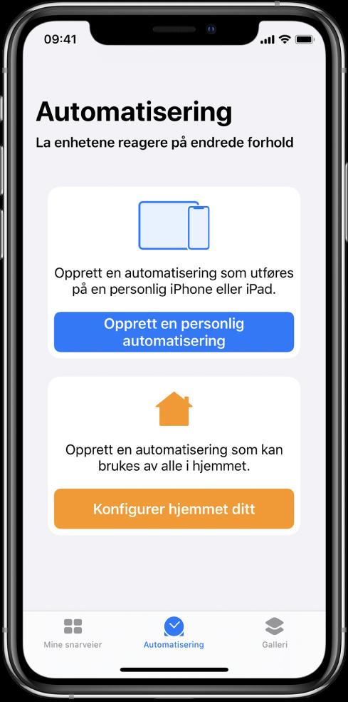 Automatisering-delen i Snarveier-appen.