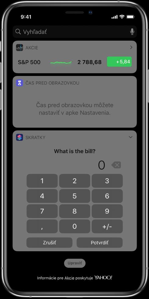 Číselná klávesnica vo widgete Skratky vzobrazení Dnes.