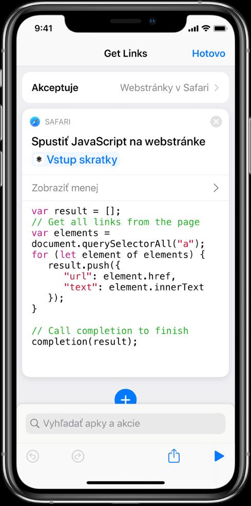 Akcia Spustiť JavaScript na webovej stránke veditore skratiek.